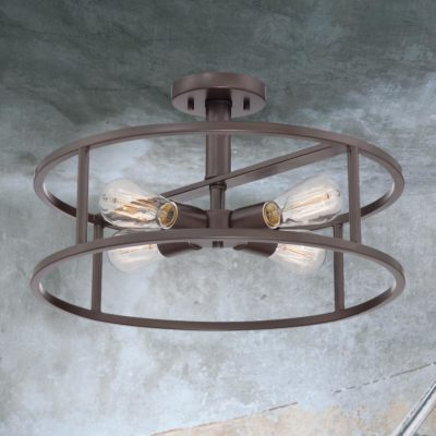 Bronze 4 Light Semi Flush