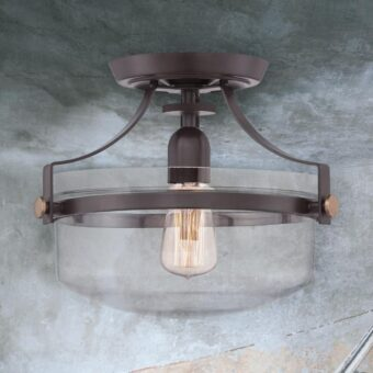 Bronze Clear Glass Flush Light