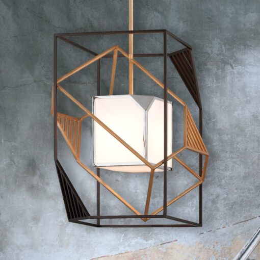 Bronze Geometric Frame Pendant Light
