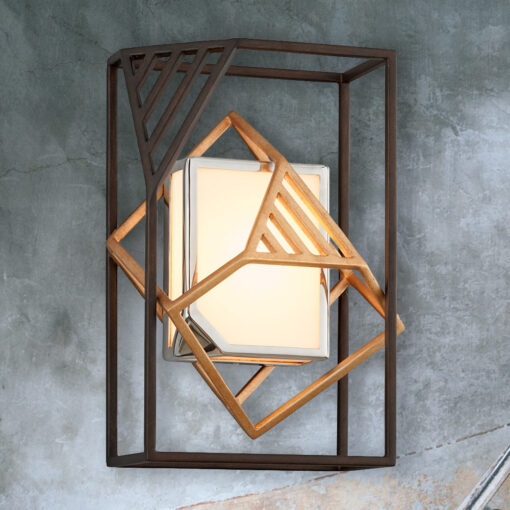 Bronze Geometric Frame Wall Light