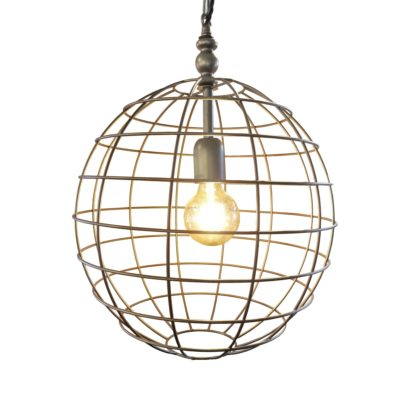 Bronze Large Round Cage Pendant Light