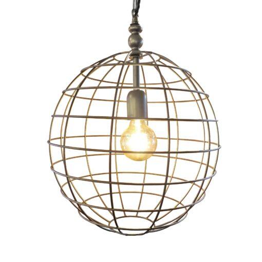 Bronze Large Round Cage Pendant Light