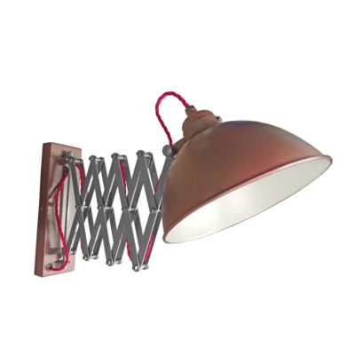 Bronze Scissor Arm Wall Light White Inner