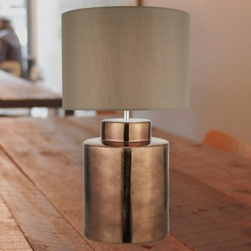 Bronze Table Lamp with Brown Shade