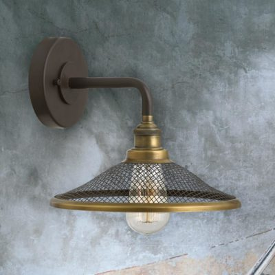 Bronze Wire Mesh Wall Light, Industrial Wire Mesh Wall Light