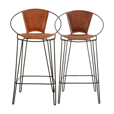 Brown Leather Hairpin Bar Stool