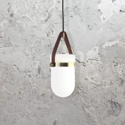 Brown Leather Strap Pendant Light