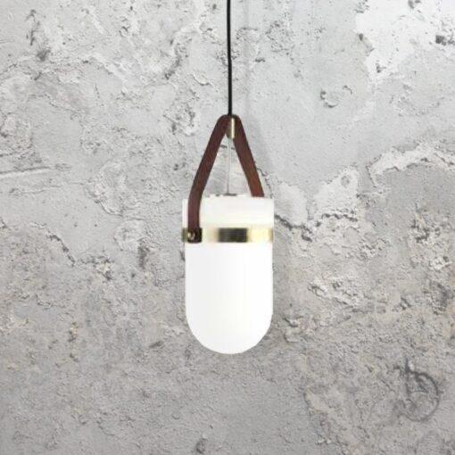 Brown Leather Strap Pendant Light