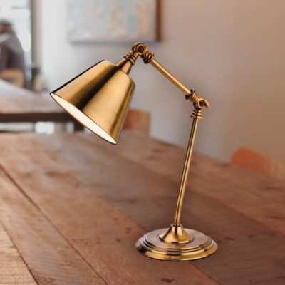 Brushed Antique Gold Industrial Table Lamp