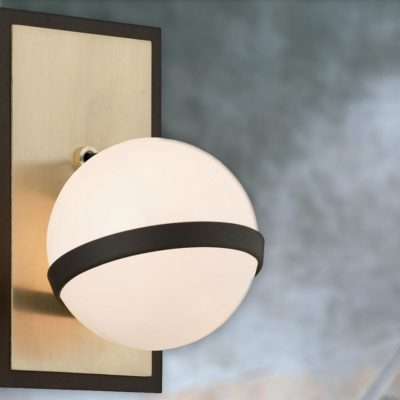 Brushed Brass White Globe Wall Lamp