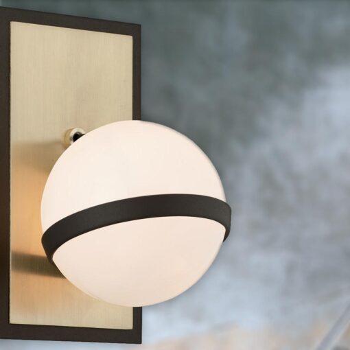 Brushed Brass White Globe Wall Lamp