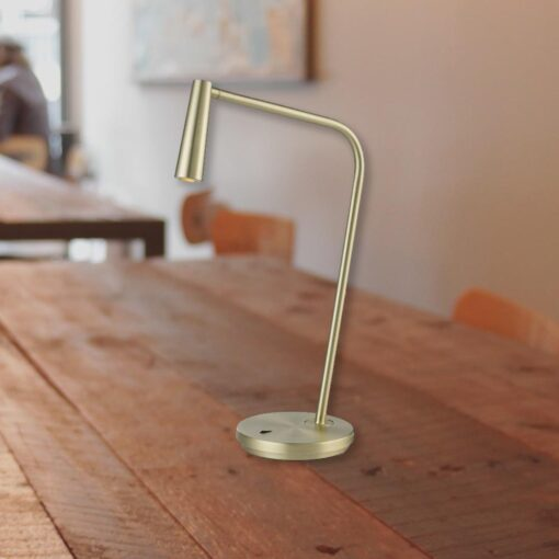 Brushed Gold Bedside LED Task Lamp