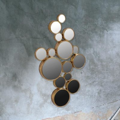 contemporary 15 circle gold frame bubbles mirror