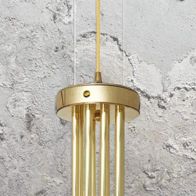 vintage polished brass geometric chandelier