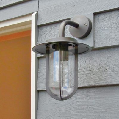 bronze cage outdoor wall light with clear glass