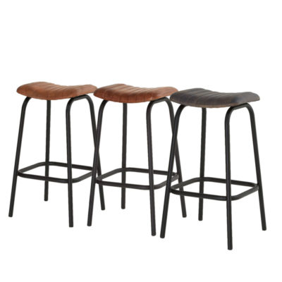 Channel Tufted Leather Bar Stool