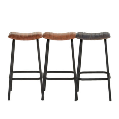 Channel Tufted Ribbed Leather Iron Bar Stool