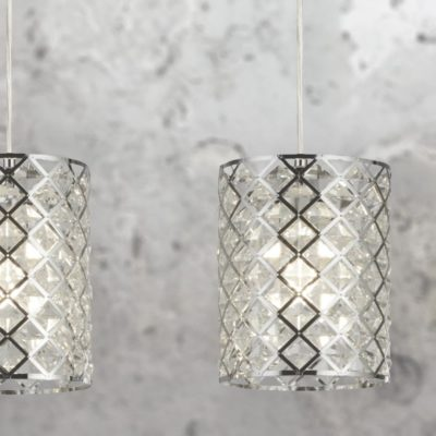 Chrome Crystal Glass 3 Light Pendant Bar