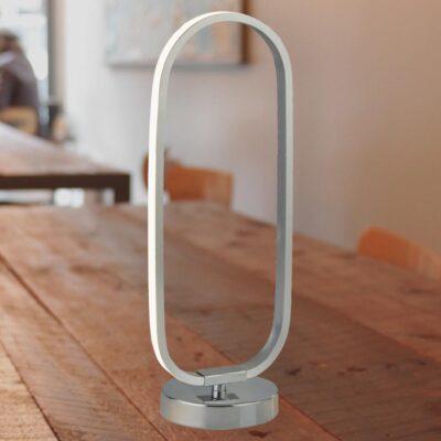 Chrome LED Oval Table Lamp