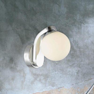 Chrome Opal Globe Wall Light