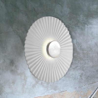 Chrome Round Rippled Wall Light