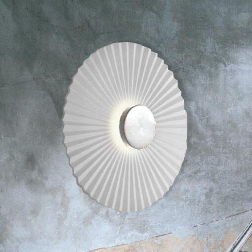 Chrome Round Rippled Wall Light