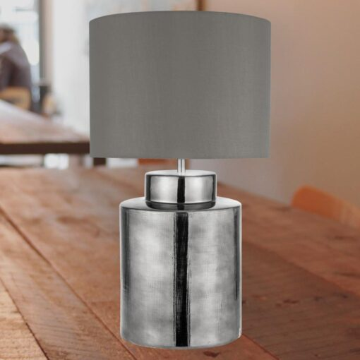 Chrome Table Lamp with Grey Shade