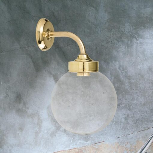 Clear Bathroom Brass Globe Wall Light
