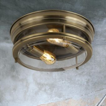 Clear Glass Antique Brass Flush Light