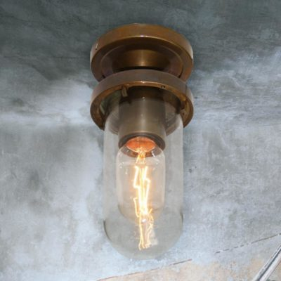 Clear Glass Antique Brass Outdoor Ceiling Light