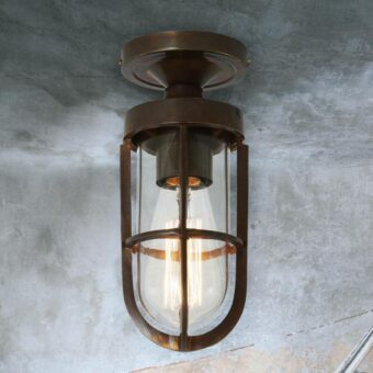 Clear Glass Cage Antique Brass Outdoor Ceiling Light