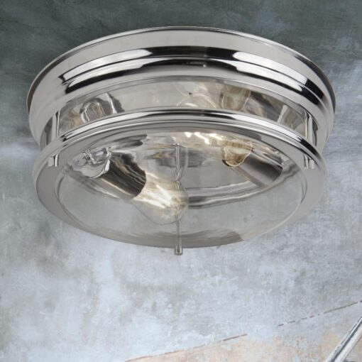 Clear Glass Chrome Flush Light