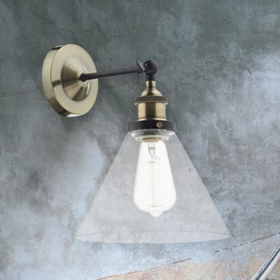 Clear Glass Cone Wall Light