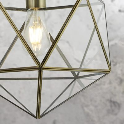 Clear Glass Geometric Antique Brass Pendant Light