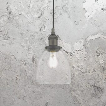 Clear Glass Pewter Pendant Light