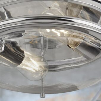 Clear Glass Polished Chrome Flush Light