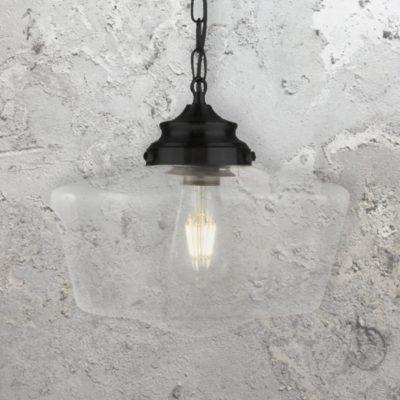Clear Glass Schoolhouse Pendant Light