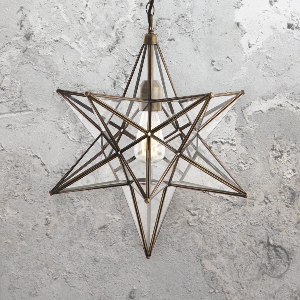 Clear glass star pendant light cl 36469