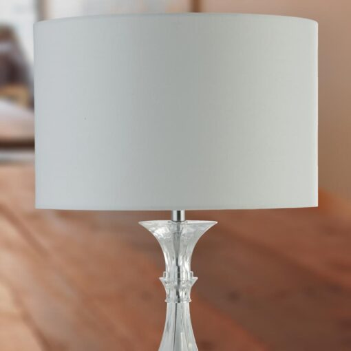 Clear Table Lamp with White Shade