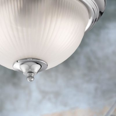 Chrome Frosted Glass Flush Light