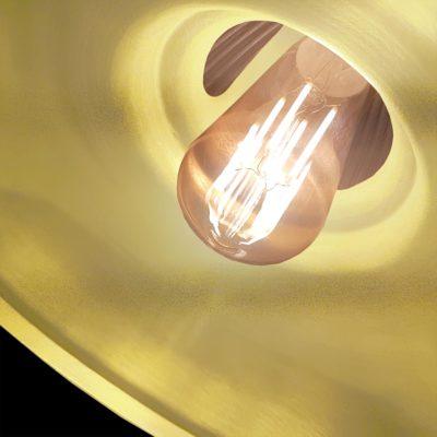 Close Up Satin Brass Glass Pendant Light