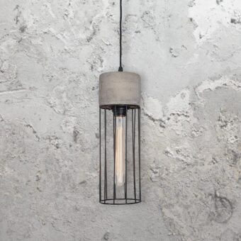 Concrete Caged Pendant Light