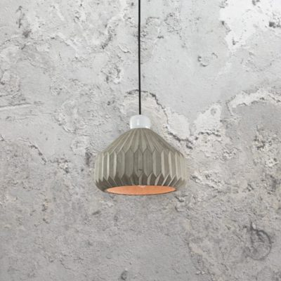 Concrete Pleated Pendant Light