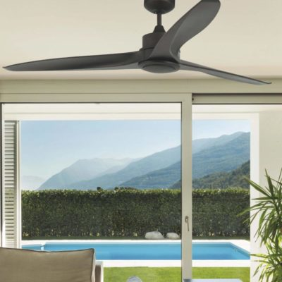 Contemporary Black Ceiling Fan With Light