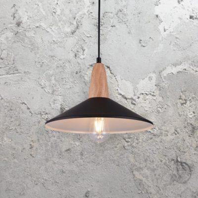 Contemporary Black Wood Pendant Light