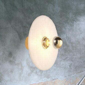 Contemporary Round Alabaster Wall Light