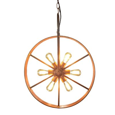 Copper 6 Light Bicycle Wheel Pendant