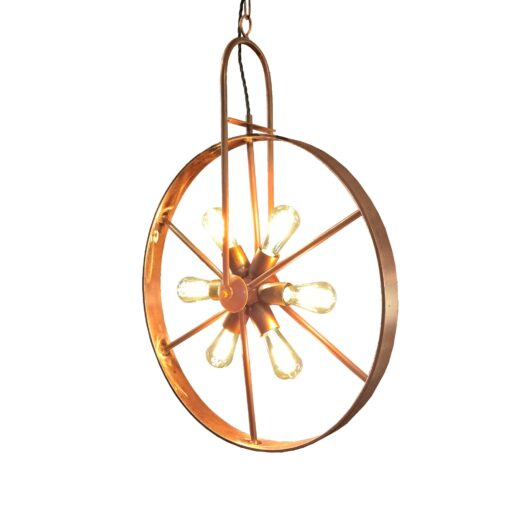 Copper 6 Light Wheel Pendant