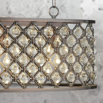 Antique Copper Crystal Island Chandelier