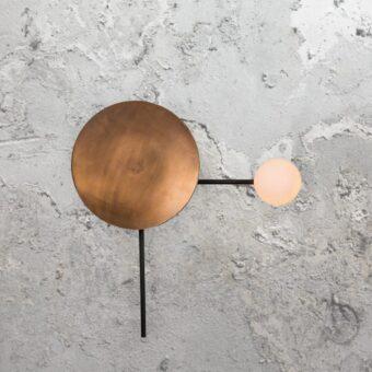 Copper Disc Opal Wall Light